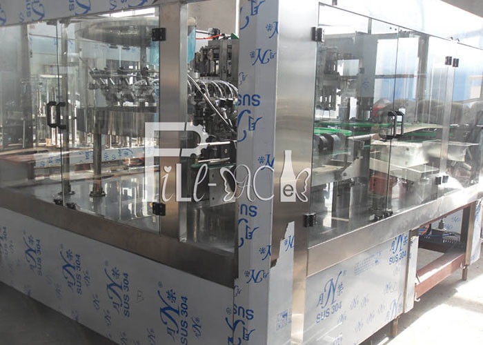 PET Plastic Glass 3 In 1 Monobloc Sparkling Water Wine Bottle Filling Machine / Equipment / Line / Plant / System
